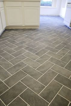 kitchen grey heringbone floors - Google Search
