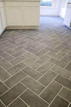 kitchen grey heringbone floors - Google Search
