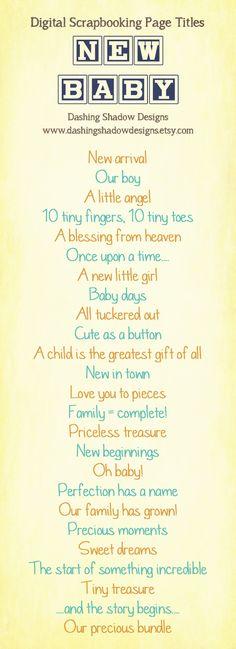 Scrapbook Page Title Ideas - New Baby #CreativeMemories #Croptoberfest2015 www.creativememories.com