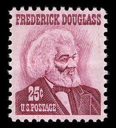 Abolitionist Frederick Douglass in a 25-cent rose stamp issued in 1967.
