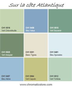 Une palette de teintes inspirées des couleurs des vagues de l'océan atlantique : fraîcheur et grands espaces! www.chromaticstore.com