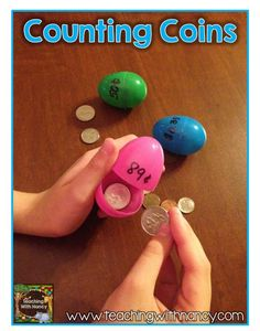 Counting Coins - love the versatility of plastic eggs for centers at Easter! Read more and download a FREE recording sheet at: http://www.teachingwithnancy.com/coin-counting-egg-hunt/