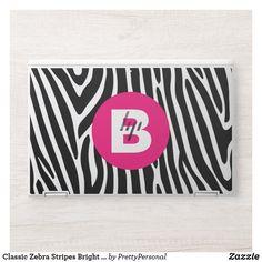 Classic Zebra Stripes Bright Pink Monogram HP Laptop Skin