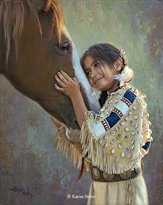 """The expression on this young girl's face is priceless!! This is an awesome painting......one that I'd love to own........""""Eyes of the Heart"""" 14"""" x 11"""" -Native American Paintings by Karen Noles"""