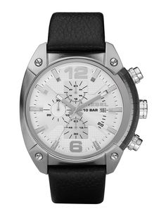 d9bafb03172e Diesel DZ4214 Men s OverFlow Chronograph Black Leather watch Black Leather  Watch