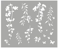 Blossom Silhouette Stencils Blossom, Willow and Butterfly Silhouette Stencil