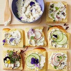 Beautify your brunch party with these colorful and dainty cream cheese tea sandwiches.