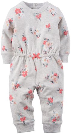 Carter's Print Terry Romper (Baby) - Gray Floral - Free Shipping