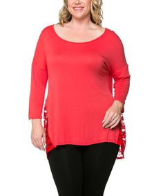 Another great find on #zulily! Coral Lace-Panel Hi-Low Tunic - Plus by Celeste #zulilyfinds