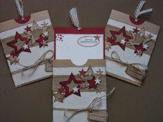 Kreativ am Deich : ...neue Gutscheinkarten zu Weihnachten.... Stampin Up Christmas, Christmas Tag, Christmas Crafts, Cricut Cards, Stampin Up Cards, Star Cards, Magic Cards, Stamping Up, Greeting Cards Handmade