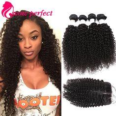 grade 8A malaysian kinky curly virgin hair with closure 4 bundles human hair with closure malaysian virgin hair with closure