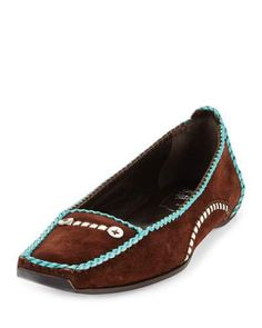 ROGER VIVIER SUEDE MOCCASIN WITH LEATHER TRIM, BROWN. #rogervivier #shoes #