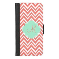 Monogram Coral and White Chevron with Mint Green iPhone 8/7 Wallet Case - initial gift idea style unique special diy
