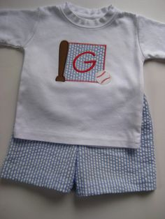 Boy's Seersucker  2 piece outfit with applique and monogram/name of your choice