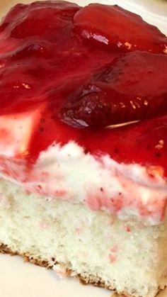 Strawberry Dream Cake  desserts, recipes, sweet, fresh Strawberry Dream Cake Recipe, Strawberry Danish Recipe, Strawberry Cheesecake Cake Recipe, Cake With Strawberry Filling, Desserts With Strawberries Easy, Strawberry Deserts Recipes, Strawberry Whipped Cream Cake, Strawberry Sheet Cakes, Strawberry Icebox Cake