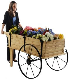 "Wooden Flower Cart w/ 30"" Steel Wheels – Red Cedar Cut Flower Garden, Flower Pots, Wooden Cart, Sheds For Sale, Garden Basket, Wooden Wheel, Flower Cart, Diy Bird Feeder, Outdoor Restaurant"