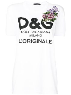 bdda3ace6 Shop Dolce & Gabbana classic logo T-shirt with floral cross stitch motif