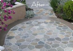 DIY stone patio using natural stone (Artic White Quartz) from Home Depot. Six stones are attached to a mesh.