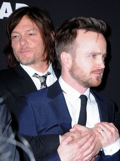 Pin for Later: 26 Times Norman Reedus Proved He Was Surprisingly Adorable When He Held Onto Aaron Paul For Dear Life Movie Club, Movie Tv, Breaking Bad, Jesse Pinkman, Aaron Paul, Walking Dead Cast, Janis Joplin, Catching Fire, Daryl Dixon