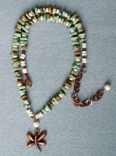 Libélula de cobre blanco antigua Bohemia collar por OlenaDesigns