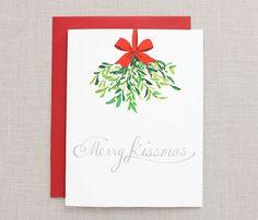 Holiday Greeting Card- Merry Kissmas- A2. $3.50, via Etsy.