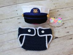 Original Design Crochet USCG dress blues set, Hat and Diaper Cover, United States Coast Guard, Baby Photography prop - Made to order by CrochetbyPalmLLC on Etsy