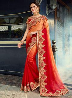 Orange Silk Embroidery Work Saree