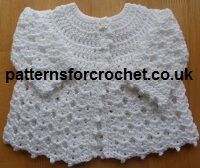 Free Baby crochet pattern, pretty matinee coat from http://www.patternsforcrochet.co.uk/free-baby-crochet-pattern-e-book.html is easy to make and follow, written in USA and UK/Aus formats.