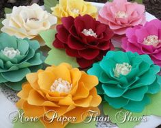 Paper Flowers - Weddings - Party Favors - Elizabeth Rose - Any Color - Made To Order - SET OF 50