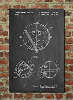 Bowling Ball Patent Art Print Patent Art Blueprint by PatentPrints