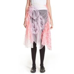 Women's Tricot Comme Des Garcons Raschel Tulle & Lace Skirt ($762) ❤ liked on Polyvore featuring skirts, pink, tulle skirts, pink wrap skirt, lace tulle skirt, pink lace skirt and lacy skirt