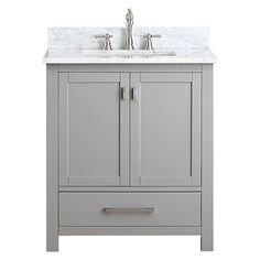 Modero Chilled Gray 30 Inch Vanity Combo With White Carrera Marble Top Vanities Bathroom