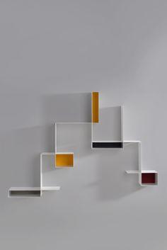 Sectional floating plate bookcase RANDOMISSIMO by MDF Italia design Neuland Industriaedesign