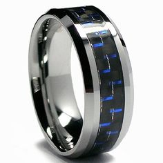 8MM Men's Tungsten Carbide Ring W/ BLACK & BLUE Carbon Fiber