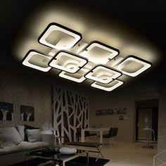 Rectangle Minimalist Modern led ceiling chandelier lights for living room bedroom AC 85-265V Square ceiling chandelier fixtures