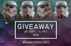 Manaya 3D Studio Presents: #giveawaymanaya3dstudio  Mau dapat Stormtrooper Pen Cup secara cuma-cuma? Ikuti langkah dibawah ini: 1. Follow instagram @manaya3dstudio. 2. Regram foto ini dengan hashtag #giveawaymanaya3dstudio dan tag instagram kami. 3. Tag sebanyak-banyaknya teman kamu pada bagian komentar di foto kami. 4. Akun yang digunakan harus akun asli.  Akun dengan tag terbanyak akan memenangkan #giveawaymanaya3dstudio ini. Tersedia 2 Stormtrooper Pen Cup untuk pemenang giveaway daerah…