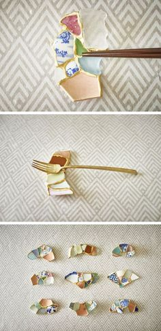 The best DIY projects & DIY ideas and tutorials: sewing, paper craft, DIY. Diy Crafts Ideas Broken Ceramics Found on the Beach, Turned Into Chopstick Rests Using Kintsugi -Read Kintsugi, Wabi Sabi, Ceramic Clay, Ceramic Pottery, Diy And Crafts, Arts And Crafts, Chopstick Rest, Paperclay, Art Projects