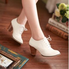 Brogue Womens Fashion Lace Up Mid Block Heel Oxfords Casual Plus Size Shoes