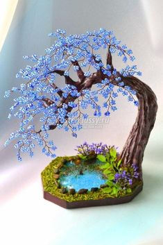 Valentine Red Wire Bonsai Tree on Selenite Sphere Sculpture - For Mental Clarity Wire Crafts, Polymer Clay Crafts, Bead Crafts, Diy And Crafts, Polymer Clay Fairy, Summer Crafts, Beading Projects, Beading Tutorials, Beading Patterns