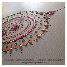 Acrylic on canvas  Close up detail of a henna inspired bespoke wedding canvas.  Hand crafted and hand painted by Shafina Ali