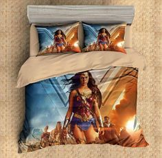 3D Customize Wonder Woman Bedding Set Duvet Cover Set Bedroom Set Bedlinen 1)100% Microfiber,Soft and Comfortable.  2)Environmental Dyeing,Never Lose Color.  3)2017 Newest Design,Wonder Woman,Fashion and Personality.