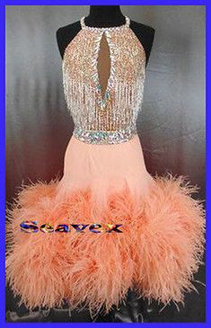 Feather Competition Women Ballroom Salsa Rumba Latin Dance Dress US 6 UK 8