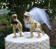 Dinosaur Wedding Cake Topper T-Rex Cake Topper by sugarplumcottage