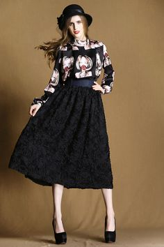 exquisite three-dimensional flowers and long sections wild skirts