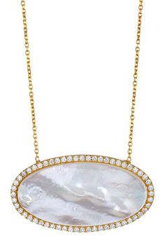 Oval Mother of Pearl & CZ Pendant Necklace