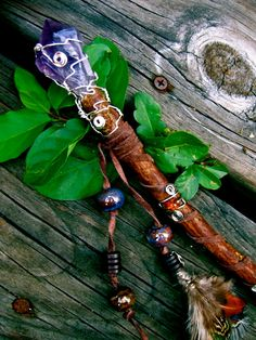 Artemis Ancient Oak Wand Amethyst Baltic Amber by EireCrescent, $55.99