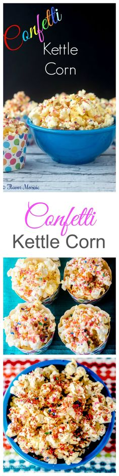 This easy Confetti Kettle Corn Popcorn Recipe will make any celebration incredibly fun, whether you are celebrating the Movie Awards, a birthday, an anniversary, a promotion, or whatever your reason you have for throwing a party. ~ http://FlavorMosaic.com