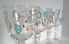 Mod Funky blue and gold Bar Glasses, Mid Century Vintage cordials by jpcountrymarket
