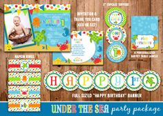 Printable Under the Sea Birthday Party Package | Kids Under the Sea Birthday Invitation | Digital | DIY | Party Decor | Banner | Cupcake Toppers | Favor Tag | Treat Bag Toppers | Candy Bar Wrappers | Invitation | Thank You Card | Signs | Food Labels | Stickers | www.dazzleexpressions.com