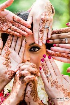 Indian Wedding, Hindu Wedding, Henna tattoos, Bridesmaids, one eye Hindu Wedding Ceremony, Wedding Henna, Desi Wedding, Hindu Weddings, Indian Weddings, Destination Weddings, Bridal Poses, Wedding Poses, Wedding Shoot